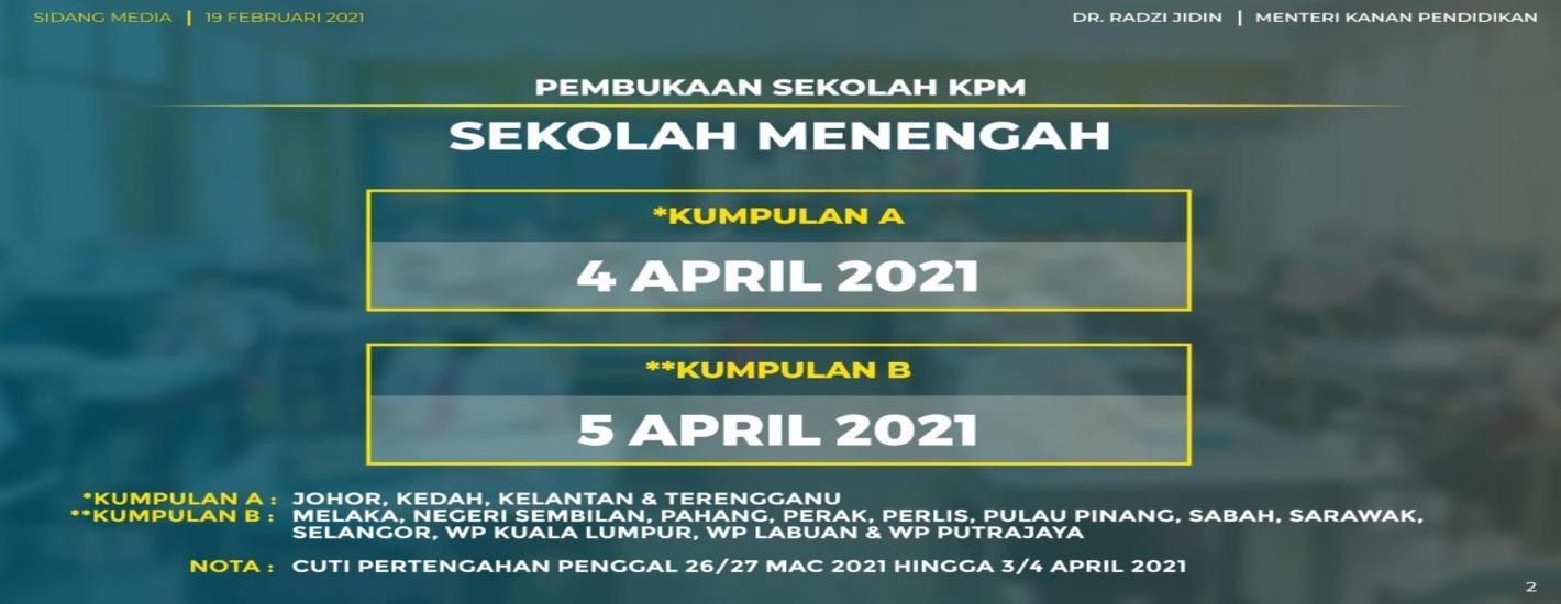Makluman Pembukaan Semula Sekolah Secara Bersemuka Tahun 2021
